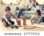 family spend time happiness... | Shutterstock . vector #577772713