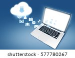 laptop download from cloud.... | Shutterstock . vector #577780267