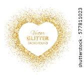 Golden Glitter Heart Frame Wit...