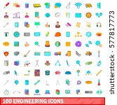 100 engineering icons set in... | Shutterstock .eps vector #577817773