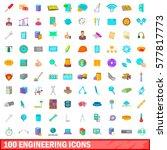 100 engineering icons set in... | Shutterstock .eps vector #577817773