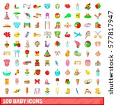 100 Baby Icons Set In Cartoon...