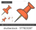 pushpin vector line icon... | Shutterstock .eps vector #577823287