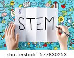 stem text with hands and... | Shutterstock . vector #577830253