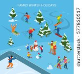 flat ski resort with snowy... | Shutterstock .eps vector #577830517