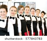 group of waiters at a...   Shutterstock . vector #577843783