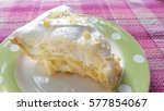 Coconut Pie On Pink Tablecloth