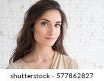 beautiful woman girl natural... | Shutterstock . vector #577862827