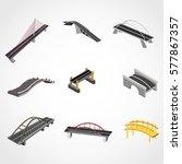 bridge 3d design vector | Shutterstock .eps vector #577867357