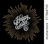 easter card. golden light rays... | Shutterstock .eps vector #577868743