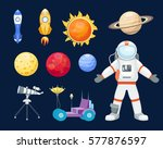 astronomy space rocket cartoon... | Shutterstock .eps vector #577876597
