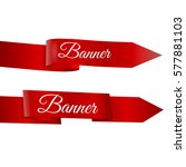 two red ribbons banner vector... | Shutterstock .eps vector #577881103