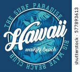 hawaii surf beach typography  t ... | Shutterstock .eps vector #577893613