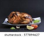 grilled chicken on dark... | Shutterstock . vector #577894627
