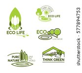 eco icon set. eco life  think... | Shutterstock .eps vector #577894753
