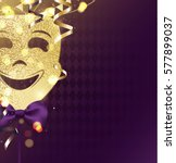 harlequin carnival mask on... | Shutterstock .eps vector #577899037