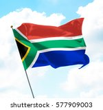 flag of south africa raised up... | Shutterstock . vector #577909003