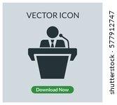 person speak on the rostrum... | Shutterstock .eps vector #577912747