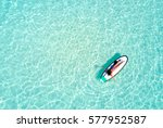 aerial view of a woman on a... | Shutterstock . vector #577952587