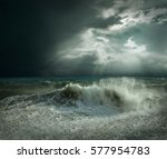 view of great storm on the sea. ... | Shutterstock . vector #577954783