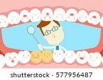 cute cartoon dentist check... | Shutterstock .eps vector #577956487