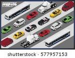 isometric car set . city... | Shutterstock .eps vector #577957153
