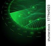 radar round screen in... | Shutterstock .eps vector #577964023