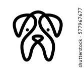 bulldog. monochrome dog head... | Shutterstock .eps vector #577967677