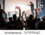 electro music festival audience ... | Shutterstock . vector #577979167