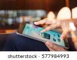 man shopping online in the... | Shutterstock . vector #577984993