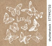 Stock vector butterflies vector set isolated hand drawn elements on kraft paper 577992733