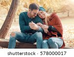 dating in the park. romantic... | Shutterstock . vector #578000017
