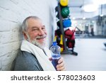 fit senior man in gym resting... | Shutterstock . vector #578023603