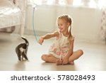 pretty little girl with... | Shutterstock . vector #578028493