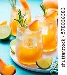 peach cocktail  fizz  ice tea... | Shutterstock . vector #578036383