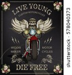 vintage motorcycle poster... | Shutterstock .eps vector #578040373