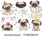 vector set of cute doodle dogs... | Shutterstock .eps vector #578058247