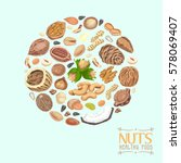 isolated circle of nuts and... | Shutterstock .eps vector #578069407