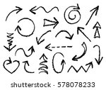 set of hand drawn charcoal fun... | Shutterstock .eps vector #578078233