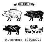 black pig symbol vector... | Shutterstock .eps vector #578080723