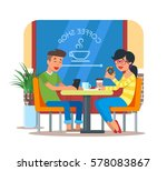 vector illustration of coffee... | Shutterstock .eps vector #578083867