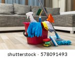 cleaning service. bucket with... | Shutterstock . vector #578091493
