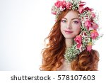 young woman with red hair... | Shutterstock . vector #578107603
