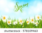 spring background with daffodil ... | Shutterstock .eps vector #578109463