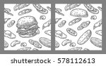 Seamless Pattern Burger And...