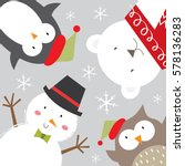 snowman and friends celebrate... | Shutterstock .eps vector #578136283