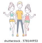 vector illustration of happy... | Shutterstock .eps vector #578144953