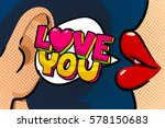 female lips with speech bubble... | Shutterstock .eps vector #578150683