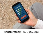 hand holding smart phone with... | Shutterstock . vector #578152603