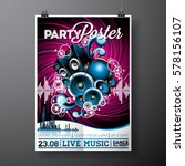 vector party flyer design with... | Shutterstock .eps vector #578156107